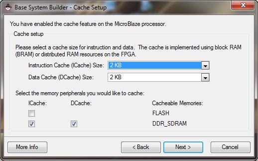 Xilinx system builder RAM configuration